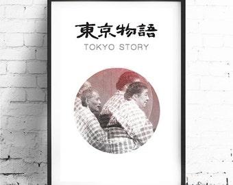"TOKYO STORY, Original Art, Minimalist Movie Poster Print 13 x 19"""
