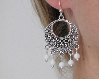 White Beaded Earrings - Antique Silver Bohemian Earrings -  Gypsy Boho Jewelry - Fashion Jewelry - Beach Summer Earrings