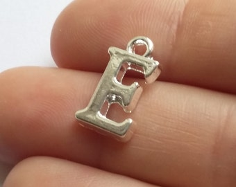 4pcs 'E' Initial Charms Silver Plated Alphabet Bracelet Necklace Pendant Jewelry Supplies - B08442