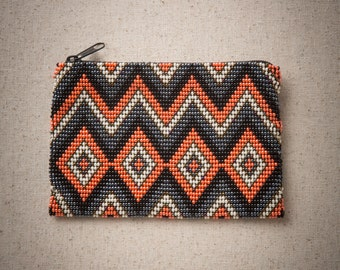 Diamond and Zig-Zag Beaded Coin Purse