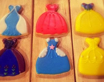 Princess Dresses Decorated Sugar Cookies