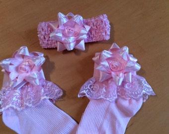 Stunning frilly socks in any size or colour ribbon