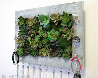 Succulents in Hanging Frame Jewelry Organizer (Various Faux Succulents arranged inside a Light Gray Frame Box)- FREE Gift w/ Purchase