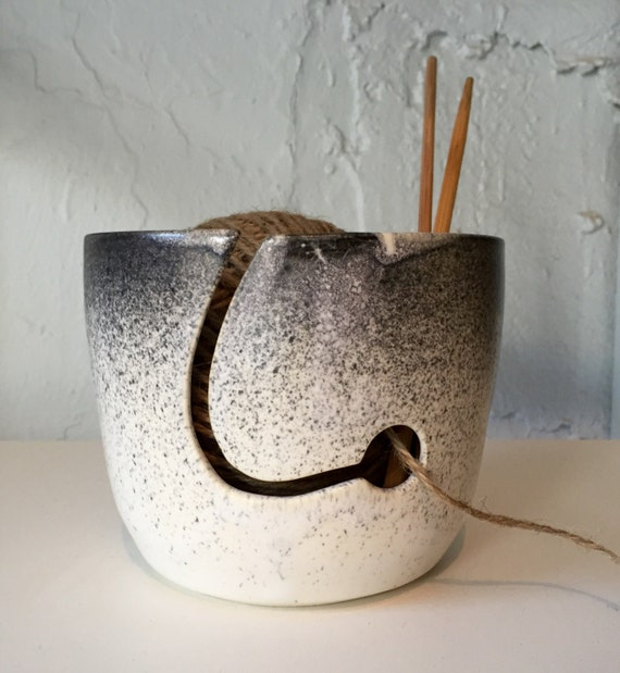 yarnbowl for knitters ceramic in white with black spray