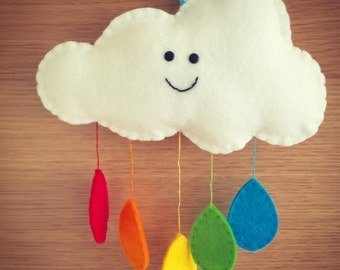 Raindrop Cloud Mobile, Mini cloud mobile, nursery decoration, new baby, baby girl, baby boy, nursery mobile, wall decoration