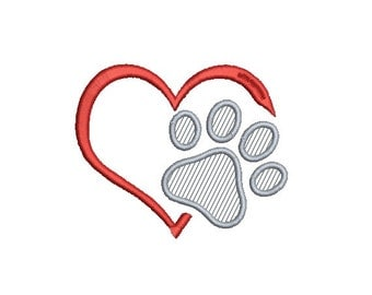 Applique Paw Print in Heart Embroidery Design in 4 Sizes - INSTANT DOWNLOAD
