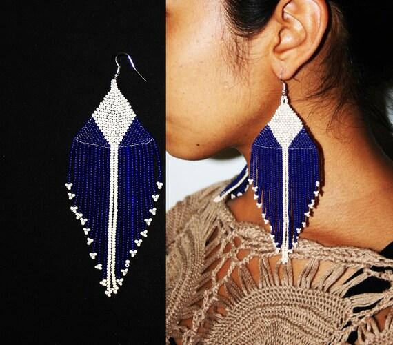 Native Beaded Earrings, Native Dangle Earrings, Large Seed Bead Earrings, Huichol Earrings, Tribal Fashion Earrings, Cream and Cobalt Blue