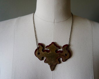 Antique Metal and Leather Necklace