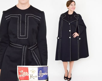 60s Lilli Ann Black Coat and Dress | 60s Rare Black Long Sleeve Dress and Matching Cape | Medium