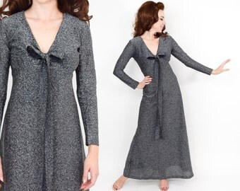 70s Silver Evening Dress | Black Metallic Long Silver Knit Maxi Dress | Medium