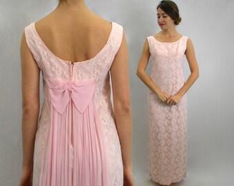 60s Pink Lace Long Evening Dress  Pink Chiffon Drape Lace Maxi Dress   Small