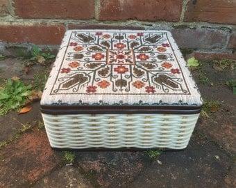 Vintage Wicker Red Sewing Basket