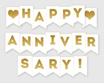 Printable Happy Anniversary Banner - Gold Banner - Anniversary Party Decoration - Digital File, DIY Print - Instant Download - #GDS