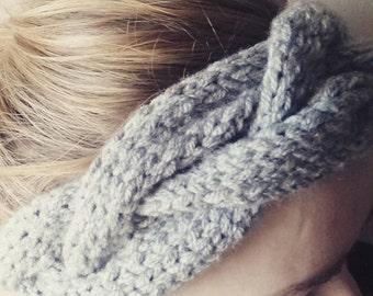 Hand knit chunky cable headband earwarmer