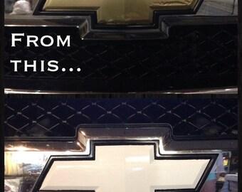 "Gloss White Vinyl Chevy Bowtie Emblem Overlays Decal Wrap Universal  DIY (2)5""x10"""