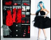 Barbie/Monster/Blythe Doll Size Furniture - Wardrobe Black