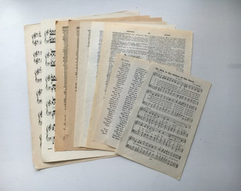 Vintage page assortment of 12. Old music pages, old book pages, old dictionary pages. scrapbook paper,