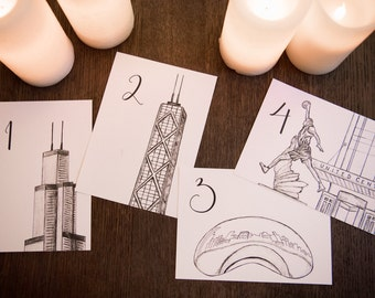 Chicago Icons Wedding Table Numbers | Chicago Wedding Theme | Chicago Landmarks, Set of 10