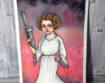 PRINCESS LEIA- Original art, fan art Illustration, star wars