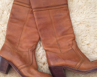 Womens Knee High Camel Brown Frye Boots Size 6 1/2 B Fryes