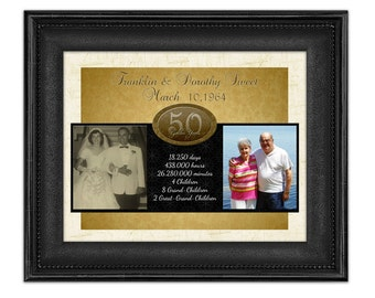 50th Wedding Anniversary Gift - 50th Wedding Gift - 50th Anniversary - Golden Anniversary Gift - Personalized Then and Now Photo Print
