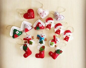 Christmas decor set of 15 ornaments. Felt ornaments. New year ornaments. Handmade ornaments. Christmas gifts.