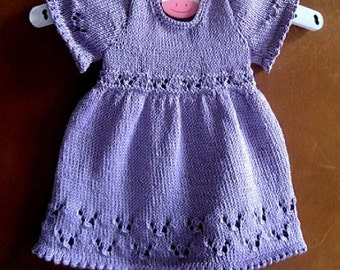Baby Dress Knitting Pattern - Instant Download PDF  - 6 sizes - Preemie - 3 years. 3 different sleeve options included