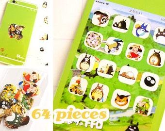 64PCS Totoro Flake Stickers Bag