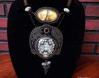 Sands Of Time, Simbircite geode, garnet, glass beads embroidery necklace, ethnic necklace, tribal