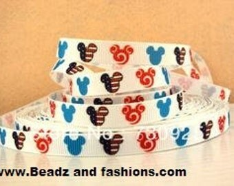 Mickey mouse flag cartoon 3/8 grosgrain ribbon 9mm fourth of july 4th