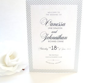 Wedding Programs, Modern Wedding Programs, Folded Wedding Programs, Black Wedding Program, Wedding Ceremony Program- DEPOSIT