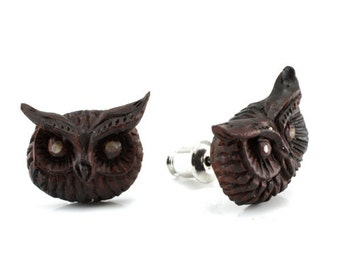 "Hand Carved - ""Eagle Owl"" - Ebony Wood with Abalone Inlay Stud Earring - Wisdom of Owls"