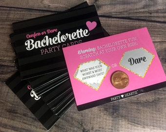 "Free Ship: Bachelorette ""Confess or Dare"" Party Game Scratch Off Cards Girls Night Out Hen ..."