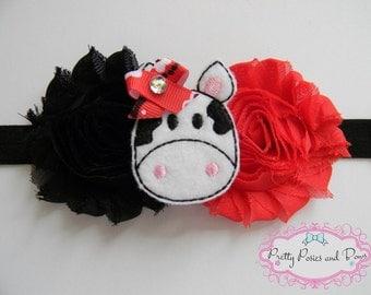 Cow Headband, Cow Baby Headband, Farm Headband, Cow Felt, Farm Party, Cowgirl Headband, Cowgirl Party