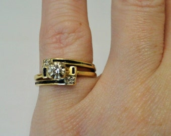 Vintage Antique Art Deco 14k Gold Diamond Enamel Ring Engagement Ring Promise Ring
