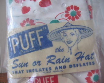 """1950's K@@L-IE Inflatable """"PUFF"""" Hat / New Old Stock, Made of Krene-Bakelite!  / 4 Colors Available!"""