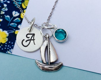 Sailboat Charm Necklace Initial Sailboat Necklace Hand Stamped Necklace, Sailing