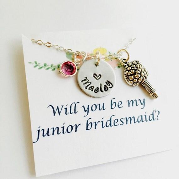 Wedding Gifts For Junior Bridesmaid : Bridesmaid Necklace, Junior Bridesmaid Gift, Wedding Necklace, Wedding ...
