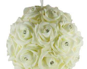 IVORY Hanging Foam Pomander Kissing Rose Ball w/ Acrylic Diamond Bridal Wedding Decor Choose Size