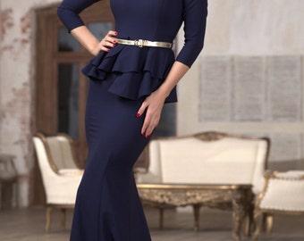 Dark blue long dress Jersey maxi dress for a woman Autumn Spring Dress floor elegant long dress Occasional dark blue dress Dress Basque