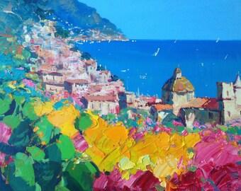 Framed Seascape Italian Positano Painting, Abstract Painting, Abstract Art, Abstract Original Painting, Wall Art Painting