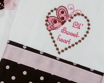 Burp Cloth, Embroidered Heart and Butterfly with Lil' Sweetheart, Brown, Pink, Polka Dots, Baby Gift
