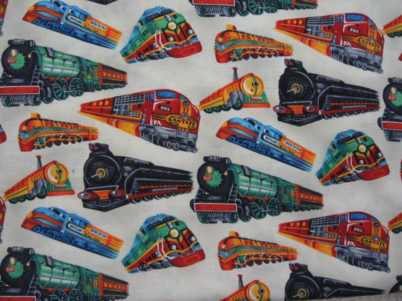 Colorful train print fabric44 wide by the yard by berrypatch15 for Train print fabric