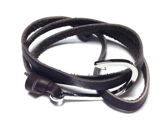 Fish hook bracelet dark brown leather by theshorelinedesigns for Mens fishing bracelet