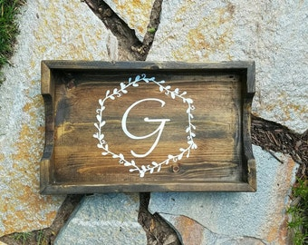 """NEW Wood Tray- Monogram-Handcrafted and Handpainted-17.5""""x11"""" Home & Garden Decor"""