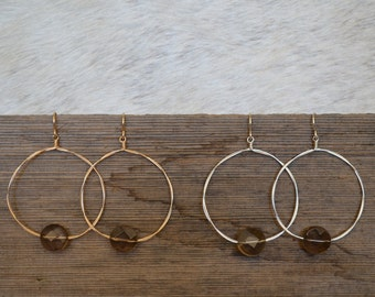 Smoky Quartz and Wire Circle Earrings