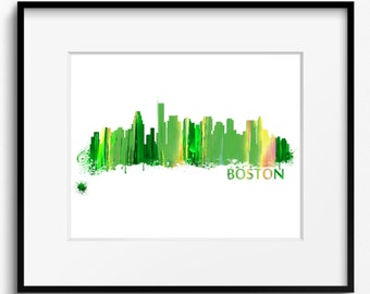 Boston Skyline Watercolor Green Art Print (259) Cityscape