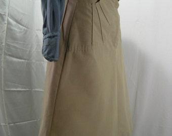 seventies skirt Aline sandy color preppy style skirt vintage coton mid time women high waist skirt metal zipper front hip hop sporty skirt