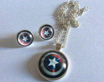 Captain America necklace  super hero  captain America  earrings super hero  America shield pendant shield pendant glass cabochon necklace