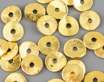 Brushed Gold Copper Wavy disc, All sizes! 8 Inch Strand!